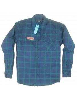 Kemeja Panjang Flannel Dunkel Blue
